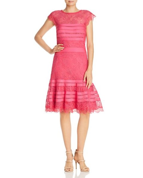 画像1: Tadashi Shoji タダシショージ パーティードレス Striped Floral Lace A-Line Dress  ピンク系 (1)