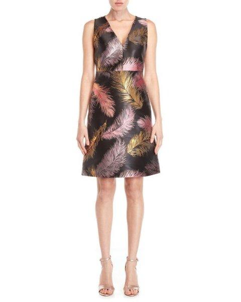 画像1: ドラマ【スーツ使用】Emilio Pucci エミリオプッチ メタリックフェザージャガードドレス (1)