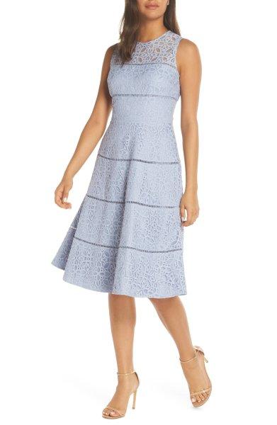 画像1: 【Hoda Kotb着用】Eliza J  Lace Fit & Flare Dress (1)