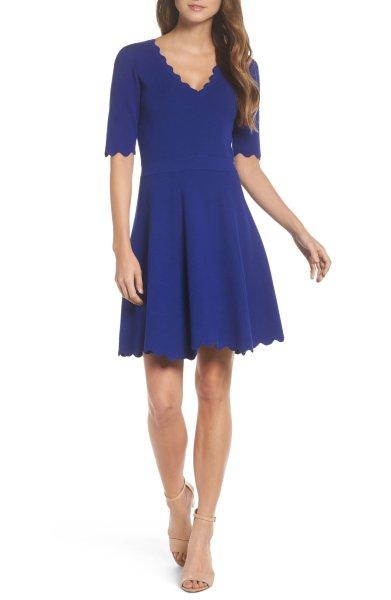 画像1: 【Sheinelle Jones 着用】Eliza J     Scallop Trim Fit & Flare Dress (1)
