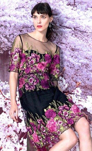 画像1:  Marchesa Notte マルケッサノッテ Floral Embroidered Cocktail Dress (1)