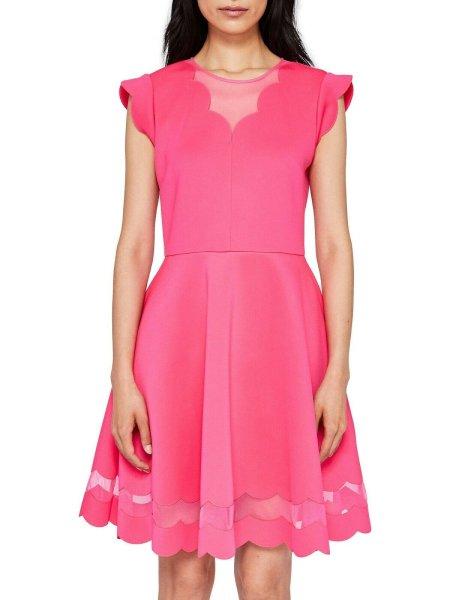 画像1: Ted Baker テッドベイカー Mesh Paneled Scallop Dress ピンク (1)
