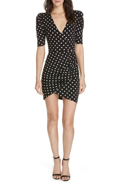 画像1: 【Eve着用】Alice + Olivia アリスアンドオリビア  Judy Ruched Polka Dot Dress (1)