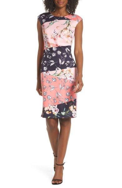 画像1: Vince Camuto  Floral Print Scuba Crepe Sheath Dress (1)