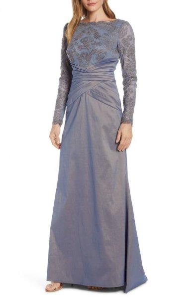 画像1: Tadashi Shoji  タダシショージ Embroidered Mesh & Taffeta Gown  グレー系 (1)