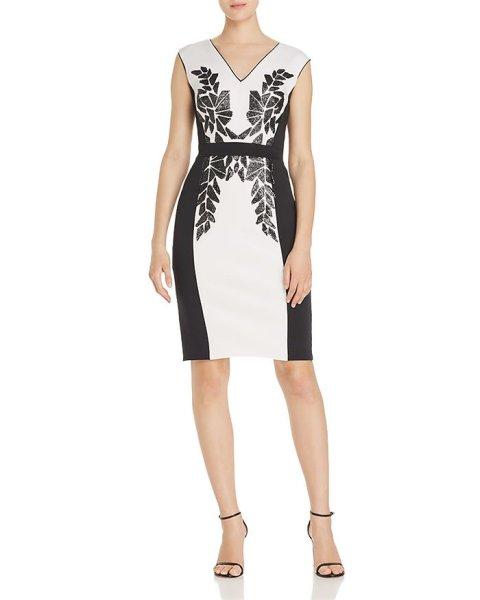 画像1: 【アンミカさん着用】Tadashi Shoji  タダシショージ Embellished Neoprene Dress  アイボリー系、ブラック系 (1)