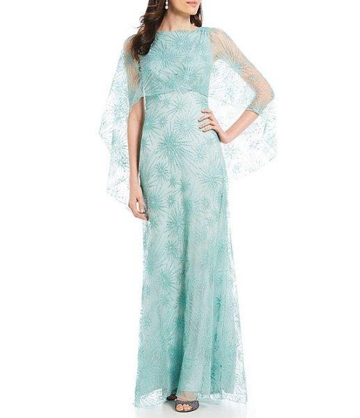 画像1: 【長澤まさみさん、高島礼子さん着用】Tadashi Shoji タダシショージ Embroidered Cape Gown ブルー系 (1)