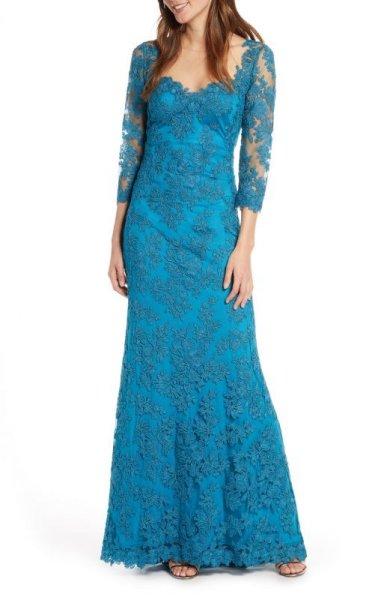 画像1: Tadashi Shoji   タダシショージ Corded Embroidered Lace Gown ブルー系 (1)