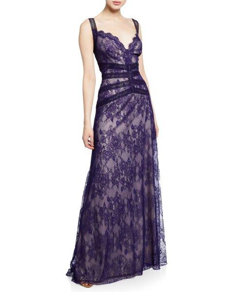 画像1: Tadashi Shoji タダシショージ  Sleeveless Lace A-Line Gown ブルー系 (1)
