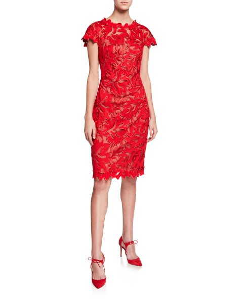 画像1: Tadashi Shoji  タダシショージ Cap-Sleeve Lace Sheath Dress レッド (1)