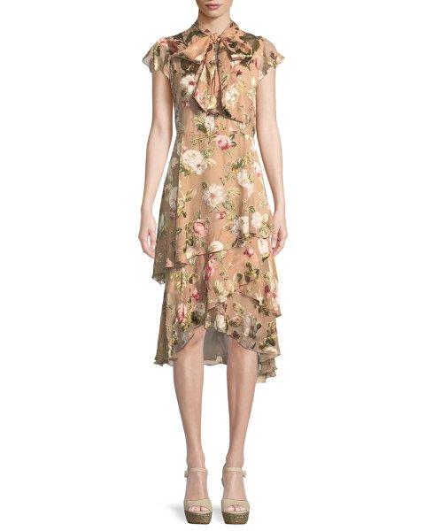画像1: 【ドラマ使用】Alice + Olivia アリスアンドオリビア  Lavenia Tiered Floral Midi Dress (1)