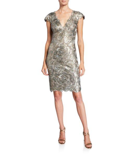 画像1: Tadashi Shoji タダシショージ     Cap-Sleeve Sequin Lace Dress (1)