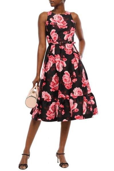 画像1: KATE SPADE New York   ケイトスペード ベルト付きローズプリントドレス (1)