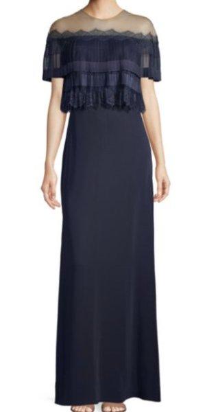 画像1: Tadashi Shoji タダシショージ Pleated Popover Off-The-Shoulder Illusion Gown ネイビー (1)