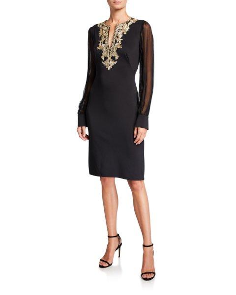 画像1: Tadashi Shoji タダシショージ Chiffon Long-Sleeve Split-Neck Neoprene Dress  ブラック (1)
