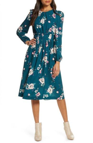 画像1: 【Kristen Welker 着用】Eliza J    Floral Print Long Sleeve Midi Dress (1)