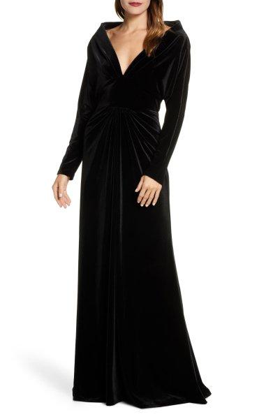 画像1: Tadashi Shoji  タダシショージ ベルベットイブニングドレス ブラック (1)