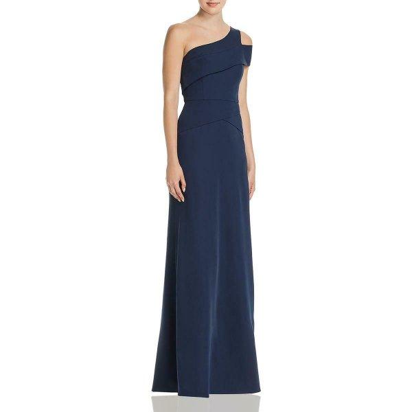 画像1: 【ドラマ使用】BCBGMaxAzria  Annely one shoulder gown ネイビー (1)