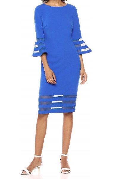 画像1: 【Hoda Kotb着用】Calvin Klein カルバンクライン ベルスリーブストライプメッシュドレス ブルー系 (1)