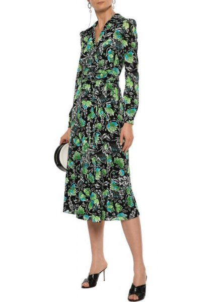 画像1: 【テレビ使用】Diane von Furstenberg ダイアンフォンファステンバーグ Phoenix Floral Wrap Dress (1)