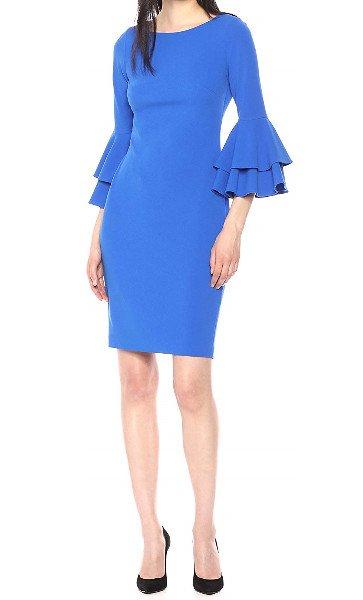 画像1: 【ドラマ使用】Calvin Klein カルバンクライン ティヤードベルスリーブドレス ブルー系 (1)
