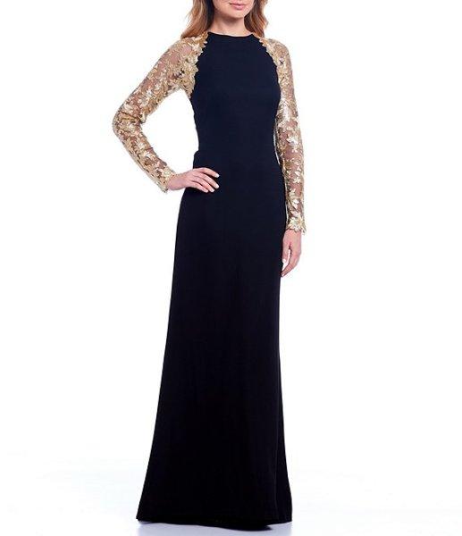 画像1: Tadashi Shoji  タダシショージ Sequin Lace Sleeve Crepe Gown ブラック (1)
