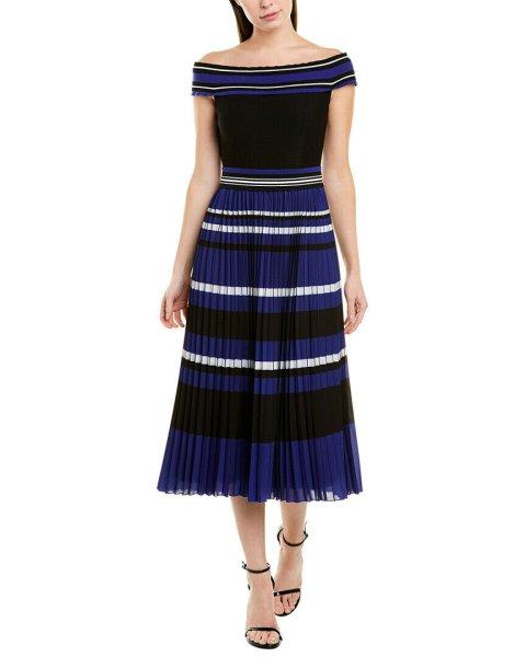 画像1: 【栗山千明さん着用】Tadashi Shoji タダシショージ   ストライププリーツミディアムドレス ブルー、ブラック系 (1)