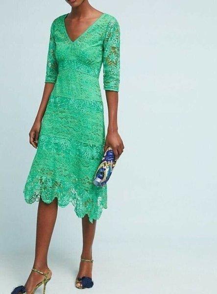 画像1: Plenty by Tracy Reese   Angelica Lace Midi Dress (1)
