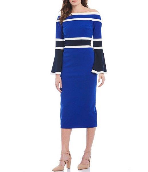 画像1: Tadashi Shoji タダシショージ   オフショルダーベルスリーブカラーブロックドレス ブルー系 (1)