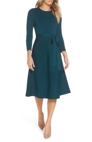 画像1: 【ドラマ使用】Eliza J    Fit & Flare Sweater Dress グリーン系 (1)