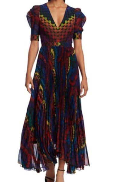 画像1: 【Katie Lowes着用 】Alice + Olivia アリスアンドオリビア Haven pleated printed chiffon maxi dress (1)