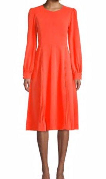 画像1: 【セレブ多数愛用】Tory Burch トリーバーチ Long-Sleeve Crepe Flare Dress (1)