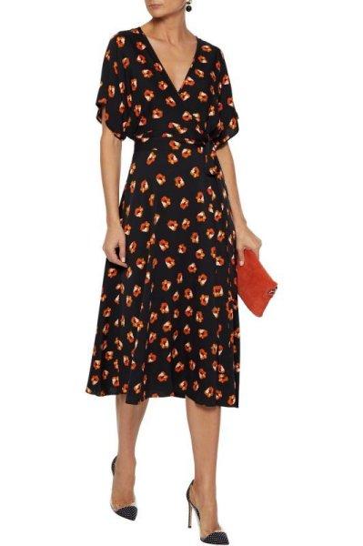 画像1: 【ドラマ使用】Diane von Furstenberg ダイアンフォンファステンバーグ Kelsey 花柄ラップドレス (1)