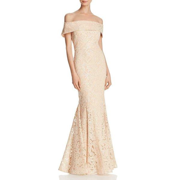画像1: Eliza J   オフショルダースパンコールトランペットドレス (1)