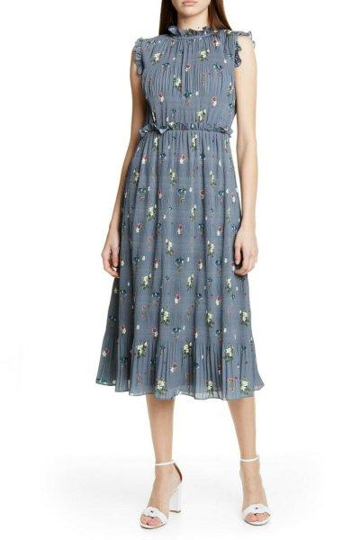 画像1: Ted Baker テッドベイカー   Toppaz Oracle Pleated Midi Dress (1)
