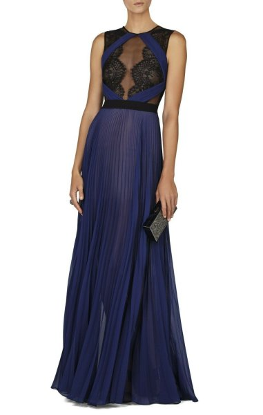 画像1: 【ローラさんご着用】BCBGMAXAZRIA Cortney Sleeveless Gown ネイビー (1)