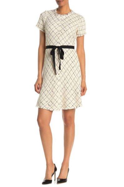 画像1: Rebecca Taylor レベッカテイラー Diamond Print Tweed Dress (1)