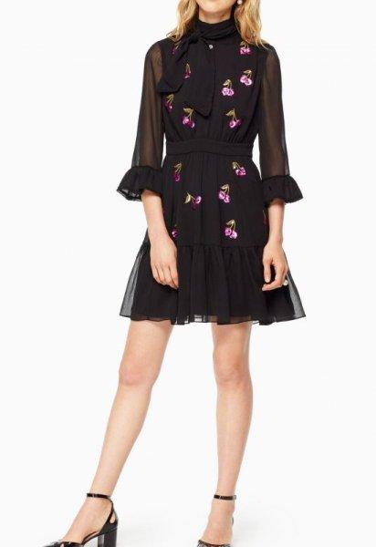 画像1: 【マギーさん着用】KATE SPADE New York   ケイトスペード スパンコールチェリーシャツドレス (1)