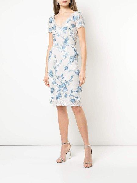 画像1:  Marchesa Notte マルケッサノッテ Cap Sleeve Corded Lace Dress (1)