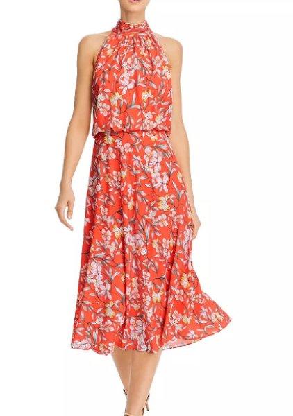 画像1: 【Amy Robach愛用】Adrianna Papell アドリアナパペル  Tea Time Floral Print Midi Dress  (1)