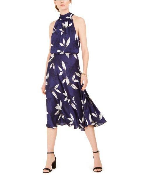画像1: 【Amy Robach愛用】Adrianna Papell アドリアナパペル  Tossed Leaves Halter Dress (1)