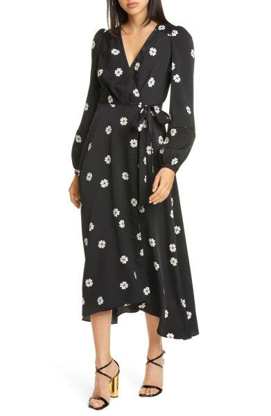 画像1: 【石原さとみさん着用、ドラマ使用】KATE SPADE New York   ケイトスペード  spade clover toss wrap dress  (1)