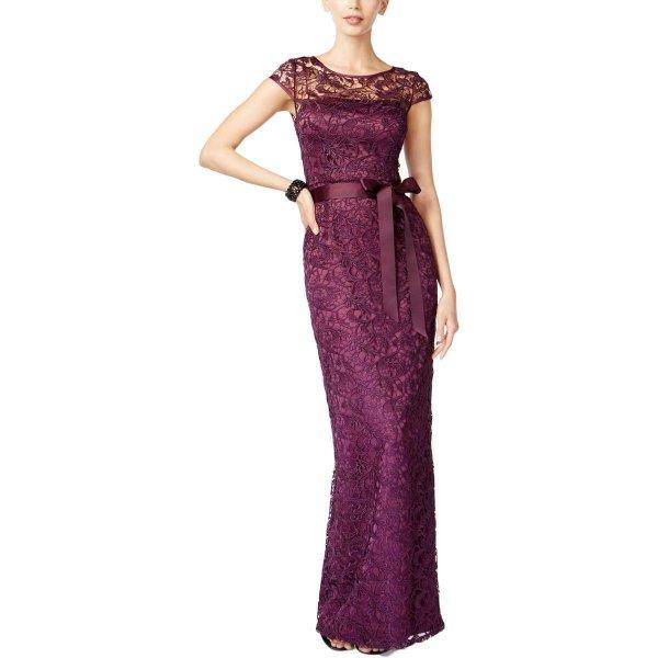 画像1: Adrianna Papell  アドリアナパペル  Cap Sleeve Lace Gown パープル系 (1)