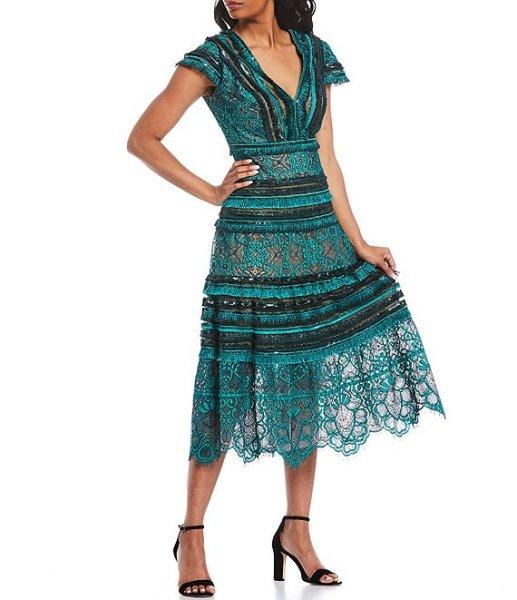画像1: 【橋本マナミさん、おのののかさん着用】Tadashi Shoji タダシショージ   V Neck Texture Lace Midi Dress グリーン系 (1)