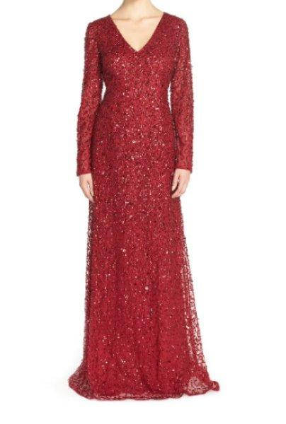 画像1: Adrianna Papell アドリアナパペル Long Sleeve Beaded Evening Gown レッド系 (1)