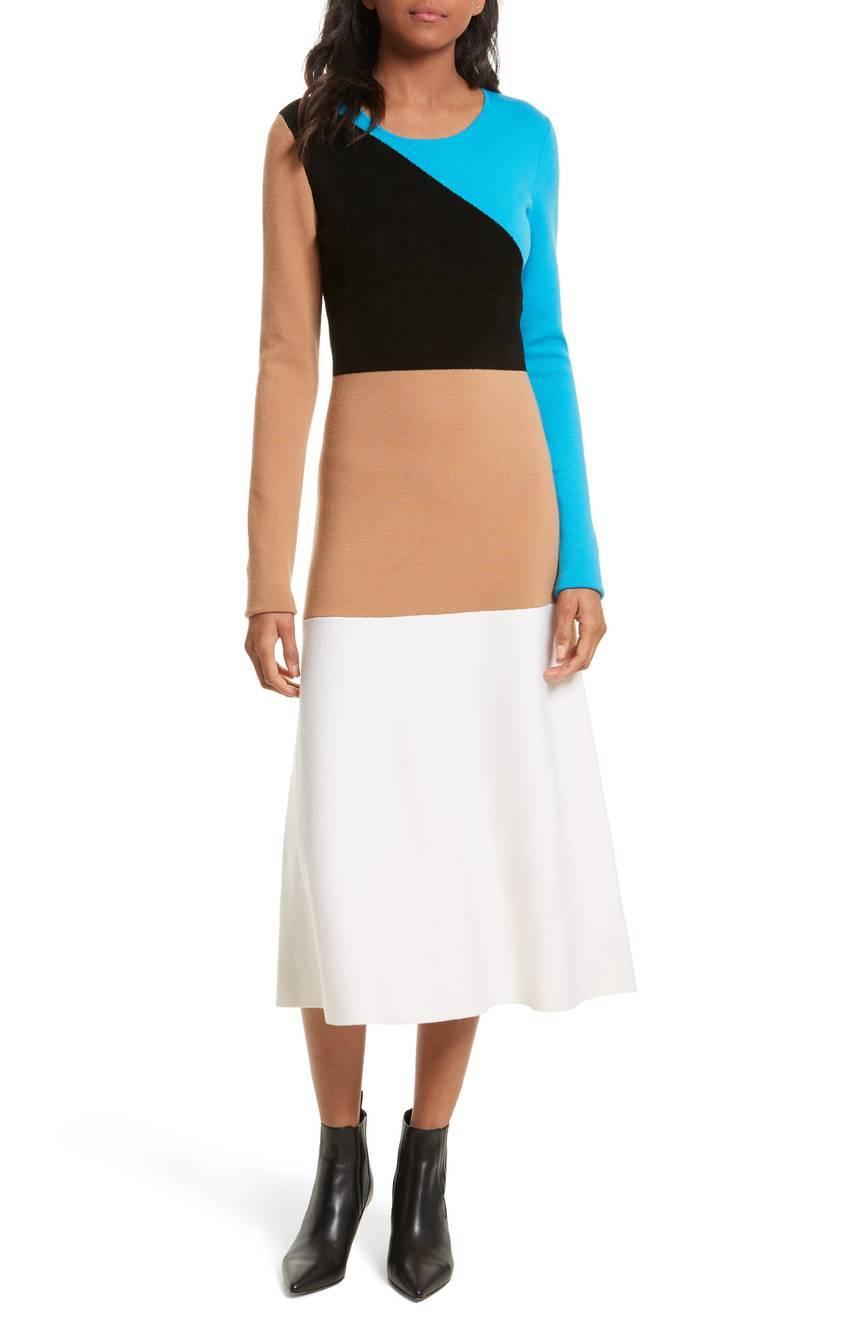 【セレブ多数愛用】Diane von Furstenberg ダイアンフォンファステンバーグ カラーブロックニットドレス